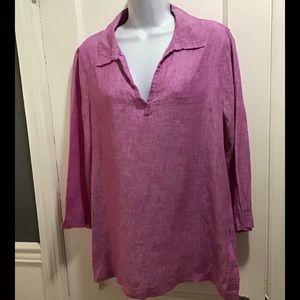 Tahari 100% Linen Popover Shirt. Size: Large NWT
